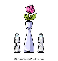 Vase with flower icon in cartoon style isolated on white background. Restaurant symbol stock bitmap, rastr illustration.