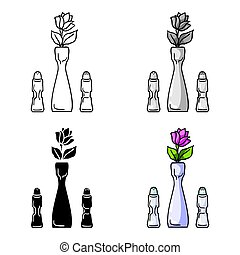 Vase with flower icon in cartoon style isolated on white background. Restaurant symbol stock vector illustration.