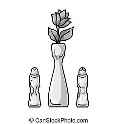 Vase with flower icon in monochrome style isolated on white background. Restaurant symbol stock vector illustration.