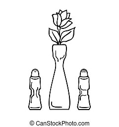 Vase with flower icon in outline style isolated on white background. Restaurant symbol stock vector illustration.