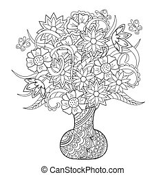 vase with flowers and butterflys - Hand drawn tangled...