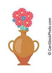 Vase with Flowers Bouquet Vector Illustration