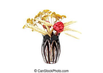 Vase with flowers isolated on the white