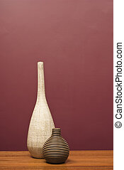 vasen, arrangiert, auf, a, tisch