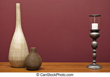 vasen, und, a, kerzenhalter