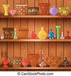 vases and art flower pots on wooden shelves for your design