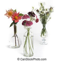 vases of summer flowers