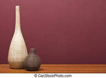 vases, sur, table