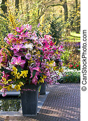 Vases with spring flowers decoration