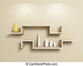 vases., witte , modeln, gele, planken