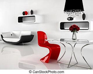 vasi, moderno, candeliere, divano, interior., sedia rossa, minimalismo, barocco, tavola, mobilia