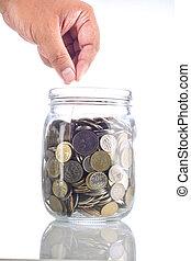 vasi vetro, moneta, mettere, mano