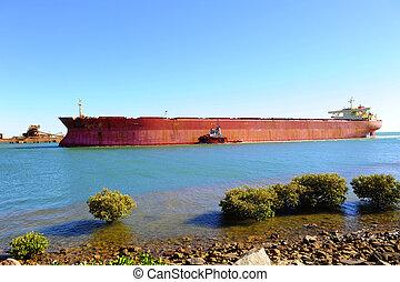 vasija, barco, mineral, carga, hierro