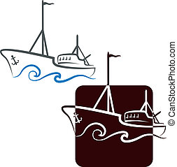 vasija, diseño, pesca