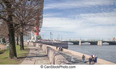 Vasilievsky island in Saint Petersburg motion timelapse