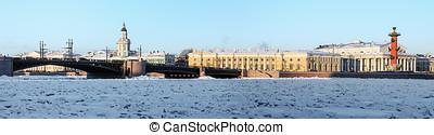 vasilyevsky, Inverno, Palácio, ponte,  stitched,  panorama,  ST, manhã, cedo,  Petersburg, bordas, Seta, ilha,  rússia,  8, horizontais