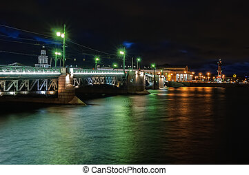 Vasilyevsky Island and Palace bridge at night - View of St. ...
