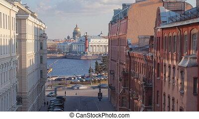 Vasilyevsky Island street day zoom out timelapse