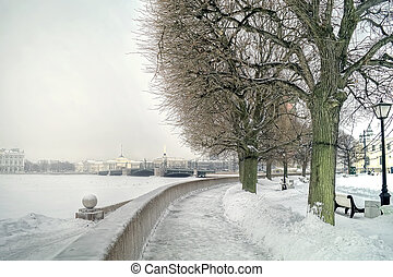 Vasilyevsky Island - Winter landscape. The river Neva and ...