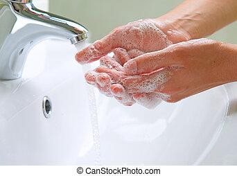 vaske, hands., rensning, hands., hygiejne