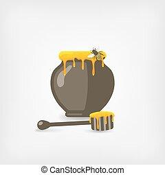 vaso, ape, mestolo miele legno