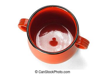 vaso, argilla, rosso, vista elevata