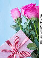 vaso, buquet, rosas, cor-de-rosa
