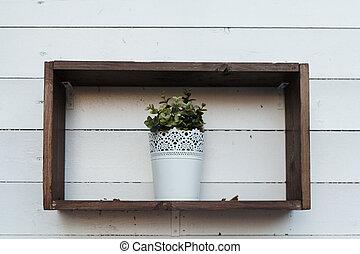 vaso, con, pianta, su, il, mensola
