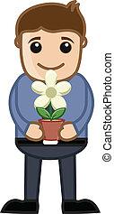 vaso, fiore, tenere mani