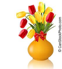 vaso, fiori primaverili