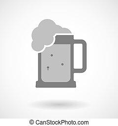 vaso, isolato, illustrazione, birra, vettore, icona