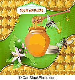 vaso miele, legno, mestolo