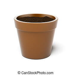 vaso, pieno, con, suolo mette vaso
