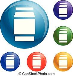 vaso, polycarbonate, vettore, set, icone