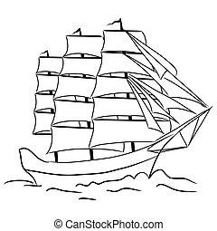 vaso, schizzo, navigazione, nautico