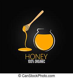 vaso, vaso, miele, vetro, disegno, fondo