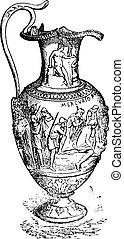 vaso, vendemmia, argento, engraving.