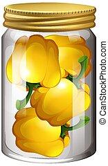 vaso, vetro, capsicum