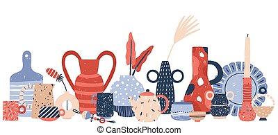 vasos, branca, candlesticks, arte, porcelana, studio., vetorial, cer㢭icas, isolado, fundo, mão, decoração, produto, modernos, illustration., crockery, cerâmico, feito à mão, desenhado, handcraft