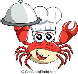 vassoio, chef, isolato, mascotte, servire, granchio