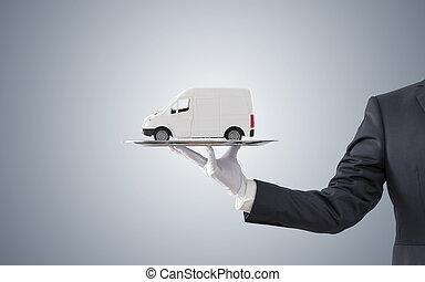 vassoio, consegna, carico, uomo affari, camion, offerta, argento