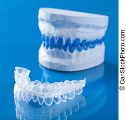 vassoio, individuale, imbiancando, dente