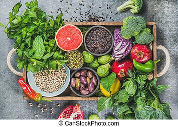 vassoio legno, sopra, cibo, rustico, sano, fondo, grigio