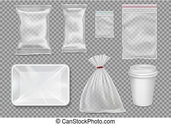vassoio, set, cup., grande, -, sacchi, plastica, imballaggio, vector.
