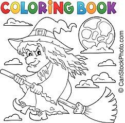 vassoura, coloração, feiticeira, livro