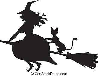 vassoura, feiticeira, gato