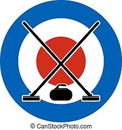 vassouras, e, pedra, para, curling