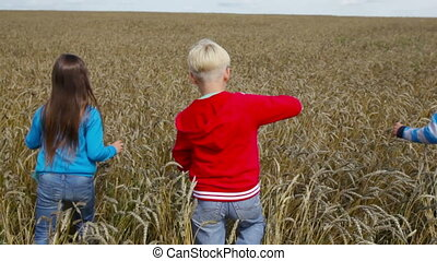 Vast field - Children following each other enjoying the...