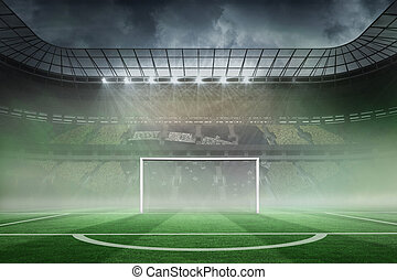 Vast football stadium with goal - Digitally generated vast ...