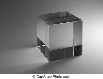vast lichaam, glas, kubus